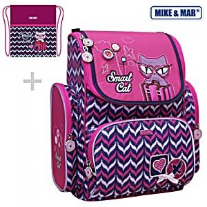 Школьный рюкзак Mike&Mar Майк Мар Котенок (малин/син) 1074-ММ-126 + мешок для обуви + пенал